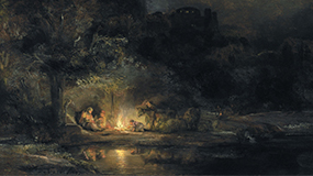 Landscape with the Rest on the Flight into Egypt. Rembrandt van Rijn. 1647. National Gallery of Ireland.